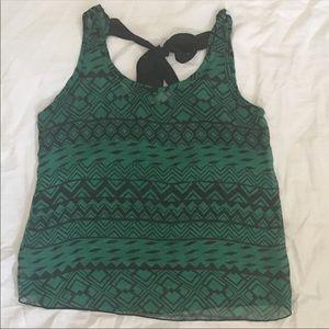Tops - Sheer Tank Top Large Green Aztec Print tie in back